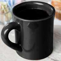 CAC HAR-75-BLK Black 7.5 oz. Venice Hartford Mug - 36/Case