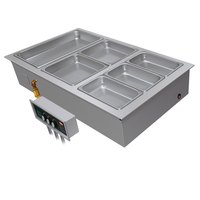 Hatco HWBI-2MA Two Compartment Modular / Ganged Drop In Hot Food Well with 1 inch Manifold Drain and Auto-Fill - 240V, 3 Phase