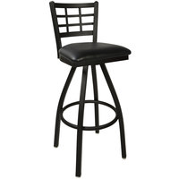 BFM Seating 2163SBLV-SB Marietta Sand Black Steel Bar Height Chair with 2 inch Black Vinyl Swivel Seat