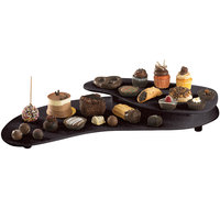 Tablecraft CW16080MIS 25 inch x 10 inch Midnight Speckle Cast Aluminum Two Tiered Platter