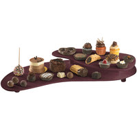 Tablecraft CW16080MAS 25 inch x 10 inch Maroon Speckle Cast Aluminum Two Tiered Platter