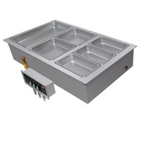 Hatco HWBI-2DA Two Compartment Modular / Ganged Drop In Hot Food Well with 3/4 inch NPT Drain and Auto-Fill