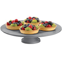 Tablecraft CW17005GR 14 inch x 4 inch Granite Cast Aluminum Round Platter with Cake Stand