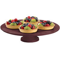 Tablecraft CW17005MAS 14 inch x 4 inch Maroon Speckle Cast Aluminum Round Platter with Cake Stand