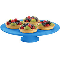 Tablecraft CW17005SBL 14 inch x 4 inch Sky Blue Cast Aluminum Round Platter with Cake Stand