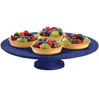 Tablecraft CW17005BS 14 inch x 4 inch Blue Speckle Cast Aluminum Round Platter with Cake Stand