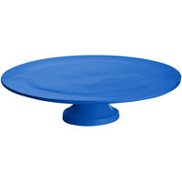 Tablecraft CW17005CBL 14 inch x 4 inch Blue Cast Aluminum Round Platter with Cake Stand