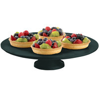 Tablecraft CW17005BKGS 14 inch x 4 inch Black with Green Speckle Cast Aluminum Round Platter with Cake Stand