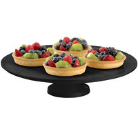 Tablecraft CW17005BK 14 inch x 4 inch Black Cast Aluminum Round Platter with Cake Stand