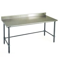 Eagle Group T3084GTE-BS 30 inch x 84 inch Open Base Stainless Steel Commercial Work Table with 4 1/2 inch Backsplash