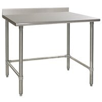 Eagle Group T2460GTEM-BS 24 inch x 60 inch Open Base Stainless Steel Commercial Work Table with 4 1/2 inch Backsplash