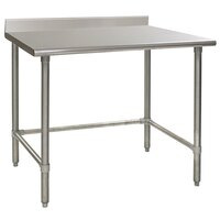 Eagle Group T2460STEM-BS 24 inch x 60 inch Open Base Stainless Steel Commercial Work Table with 4 1/2 inch Backsplash