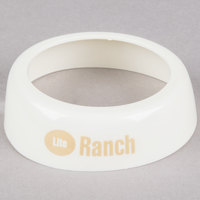 Tablecraft CB20 Imprinted White Plastic Lite Ranch Salad Dressing Dispenser Collar with Beige Lettering