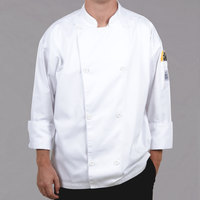 Chef Revival Silver Knife and Steel Size 56 (3X) White Customizable Long Sleeve Chef Jacket with Chef Logo Buttons