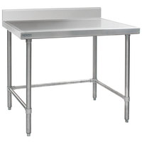 Eagle Group T2448STEM-BS 24 inch x 48 inch Open Base Stainless Steel Commercial Work Table with 4 1/2 inch Backsplash