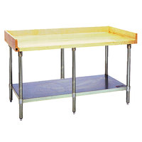 Eagle Group MT3096B-BS Wood Top Work Table with Galvanized Undershelf and 4 inch Backsplash - 30 inch x 96 inch