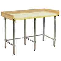 Eagle Group MT3096ST-BS Wood Top Work Table with Stainless Steel Base and 4 inch Backsplash - 30 inch x 96 inch