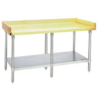 Eagle Group MT3096S-BS Wood Top Work Table with Stainless Steel Undershelf and 4 inch Backsplash - 30 inch x 96 inch