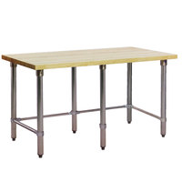 Eagle Group MT2448ST Wood Top Work Table with Stainless Steel Base - 24 inch x 48 inch