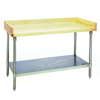 Eagle Group MT3060S-BS Wood Top Work Table with Stainless Steel Undershelf and 4 inch Backsplash - 30 inch x 60 inch