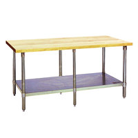 Eagle Group MT2496S Wood Top Work Table with Stainless Steel Base and Undershelf - 24 inch x 96 inch