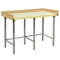 Eagle Group MT3096GT-BS Wood Top Work Table with Galvanized Base and 4 inch Backsplash - 30 inch x 96 inch