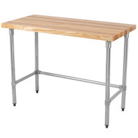 Eagle Group MT2448GT Wood Top Work Table with Galvanized Base - 24 inch x 48 inch