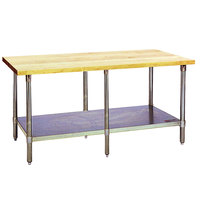 Eagle Group MT3096S Wood Top Work Table with Stainless Steel Base and Undershelf - 30 inch x 96 inch