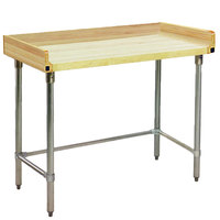 Eagle Group MT3060ST-BS Wood Top Work Table with Stainless Steel Base and 4 inch Backsplash - 30 inch x 60 inch