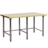 Eagle Group MT2496ST Wood Top Work Table with Stainless Steel Base - 24 inch x 96 inch