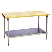 Eagle Group MT2448S Wood Top Work Table with Stainless Steel Base and Undershelf - 24 inch x 48 inch