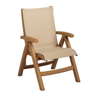 Grosfillex US352008 Belize Midback Folding Resin Sling Armchair - Teakwood Frame / Khaki Sling - 2/Pack