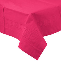 Creative Converting 710205B 54 inch x 108 inch Hot Magenta Pink Tissue / Poly Table Cover