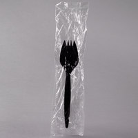Choice Individually Wrapped Medium Weight Black Plastic Spork - 1000/Case
