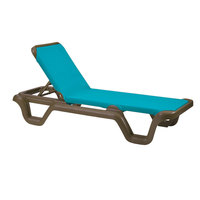 Grosfillex 99424137 Marina Bronze Mist / Turquoise Stacking Adjustable Resin Sling Chaise