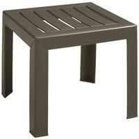 Grosfillex CT052037 Bahia 16 inch x 16 inch Bronze Mist Resin Low Table
