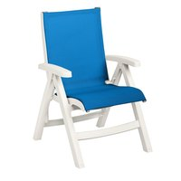 Grosfillex US532004 Belize Midback Folding Resin Sling Armchair - White Frame / Blue Sling - 2/Pack