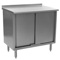 Eagle Group UCB2460SE 24 inch x 60 inch Work Table with Cabinet Base and 1 1/2 inch Backsplash