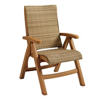 Grosfillex CT357008 Java Wicker Resin Folding Chair - Teakwood Frame / Honey Weave - 2/Pack