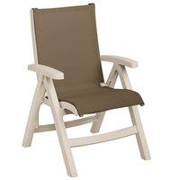 Grosfillex US355066 Belize Midback Folding Resin Sling Armchair - Sandstone Frame / Taupe Sling - 2/Pack
