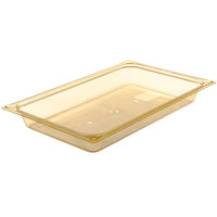 Carlisle 10400B13 StorPlus Full Size Amber High Heat Plastic Food Pan - 2 1/2 inch Deep