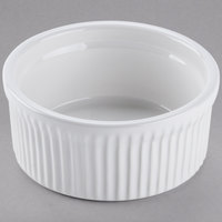 Tuxton BWX-1002 10 oz. White Fluted China Souffle / Ramekin - 12/Case