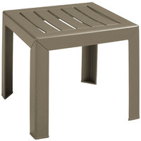 Grosfillex CT052181 Bahia 16 inch x 16 inch Taupe Resin Low Table