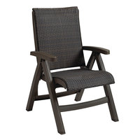 Grosfillex CT356037 Java Wicker Resin Folding Chair - Bronze Mist Frame / Espresso Weave - 2/Pack