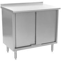 Eagle Group UCB2436SE 24 inch x 36 inch Work Table with Cabinet Base and 1 1/2 inch Backsplash