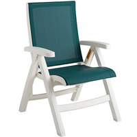 Grosfillex CT089004 Jersey White Midback Folding Resin Outdoor Sling Chair with Hunter Green Seat - 2/Pack