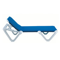 Grosfillex 99101006 / US910106 Nautical White / Blue Stacking Adjustable Resin Sling Chaise