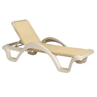 Grosfillex 99255166 / US255166 Catalina Sandstone / Natural Stacking Adjustable Resin Sling Chaise