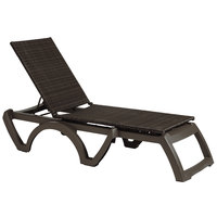 Grosfillex US465237 / US645237 Java Espresso Wicker Resin Chaise