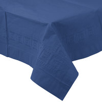 Creative Converting 710242B 54 inch x 108 inch Navy Blue Tissue / Poly Table Cover